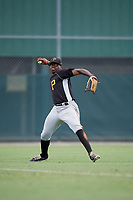 Pittsburgh Pirates Larry Alcime (46) throws back to the infield during an Instructional League intrasquad black and gold game on October 3, 2017 at Pirate City in Bradenton, Florida.  (Mike Janes/Four Seam Images)