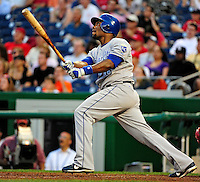 21 June 2010: Kansas City Royals outfielder Jose Guillen in action against the Washington Nationals at Nationals Park in Washington, DC. The Nationals edged out the Royals 2-1 to take the first game of their 3-game interleague series and snap a 6-game losing streak. Mandatory Credit: Ed Wolfstein Photo