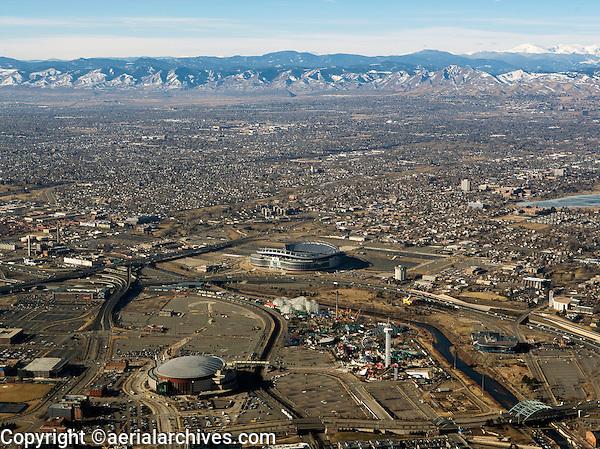 aerial photograph Sports Authority Field at Mile High Stadium Elitch Gardens Amusement Park Denver, Colorado