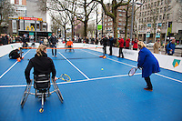 08-02-14, Netherlands,RotterdamAhoy, ABNAMROWTT,, Streettennis in wheelchairs in the center of Rotterdam with  Esther Vergeer(NED) (L)<br /> Photo:Tennisimages/Henk Koster