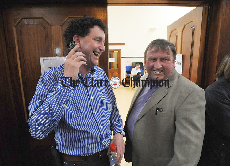 Johnny Flynn and Frankie Neylon share a joke during the counting of votes at Town Council buildings. Photograph by Declan Monaghan