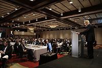 Robert Coallier, Chef de la direction d'Agropur coopérative, a la tribune du Cercle canadien de Montreal, le 1 mai 2017.<br /> <br /> <br /> <br /> PHOTO : Agence Quebec Presse