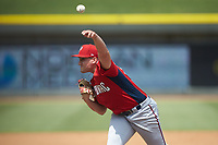 Potomac Nationals starting pitcher Nick Raquet (22) delivers a pitch to the plate against the Winston-Salem Rayados at BB&T Ballpark on August 12, 2018 in Winston-Salem, North Carolina. The Rayados defeated the Nationals 6-3. (Brian Westerholt/Four Seam Images)