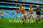 Stephen Rooney, Antrim in action against Barry O'Mahony, Kerry during the Joe McDonagh Cup Final match between Kerry and Antrim at Croke Park in Dublin.