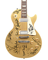 BNPS.co.uk (01202) 558833<br /> Pic: Bonhams/BNPS<br /> <br /> A guitar signed by a 'Who's Who' of music legends has emerged for sale for £15,000.<br /> <br /> The Les Paul guitar is signed by Bob Dylan, George Harrison, Eric Clapton, Stevie Wonder, Ronnie Wood and Johnny Cash.<br /> <br /> The instrument also carries the autographs of Neil Young, Willie Nelson, Chrissie Hynde and Tom Petty.<br /> <br /> It has been consigned from the collection of famous music promoter Harvey Goldsmith, who is selling over 40 mementos with London-based auctioneers Bonhams.