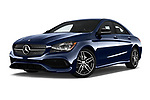 Stock pictures of low aggressive front three quarter view of 2018 Mercedes Benz CLA-Class CLA250 4 Door Sedan Low Aggressive