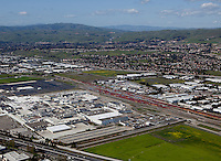 aerial photograph Tesla Factory, Fremont, Alameda County, California