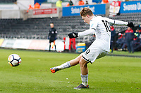 Sunday 18 March 2018<br /> Pictured:  George Byers of Swansea City<br /> Re: Swansea City v Manchester United U23s in the Premier League 2 at The Liberty Stadium on March 18, 2018 in Swansea, Wales.