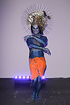 """Model poses in an outfit from the Adrienne Landau Fall Winter """"Landauland"""" collection fashion presentation co-produced by Susanne Bartsch and Saula Villela, at 111 West 19th Street, on February 14, 2017; during New York Fashion Week: Women's Fall Winter 2017."""
