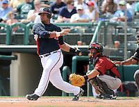 15 March 2009: Catcher Alvin Colina (69) of the Atlanta Braves hits in a game against the Houston Astros at the Braves' Spring Training camp at Disney's Wide World of Sports in Lake Buena Vista, Fla. Photo by:  Tom Priddy/Four Seam Images