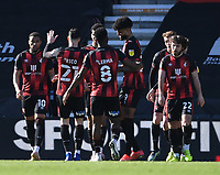 2nd April 2021; Vitality Stadium, Bournemouth, Dorset, England; English Football League Championship Football, Bournemouth Athletic versus Middlesbrough; Dominic Solanke of Bournemouth celebrates with his team on scoring in the 78th minute 3-1