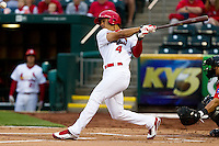 Thomas Pham (4) of the Springfield Cardinals at bat during a game against the Frisco RoughRiders on April 14, 2011 at Hammons Field in Springfield, Missouri.  Photo By David Welker/Four Seam Images.