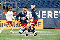 FOXBOROUGH, MA - OCTOBER 16: Tiago Mendonca #33 of New England Revolution II prepares to chase down the ball during a game between North Texas SC and New England Revolution II at Gillette Stadium on October 16, 2020 in Foxborough, Massachusetts.