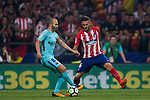 Jorge Resurreccion Merodio, Koke (r), of Atletico de Madrid fights for the ball with Andres Iniesta Lujan of FC Barcelona during the La Liga 2017-18 match between Atletico de Madrid and FC Barcelona at Wanda Metropolitano  on 14 October 2017 in Madrid, Spain. Photo by Diego Gonzalez / Power Sport Images