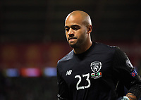 Darren Randolph of Ireland in action during the FIFA World Cup Qualifier Group D match between Wales and Republic of Ireland at The Cardiff City Stadium, Wales, UK. Monday 09 October 2017