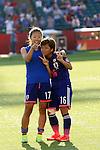 (L-R) Yuki Ogimi, Mana Iwabuchi (JPN), JULY 1, 2015 - Football / Soccer : Yuki Ogimi, left, and Mana Iwabuchi of Japan celebrate after winning the FIFA Women's World Cup Canada 2015 Semi-final match between Japan 2-1 England at Commonwealth Stadium in Edmonton, Canada. (Photo by AFLO)