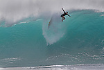 The waves over Presidents week-end seems to be over matched for this particular surfer on at Ehukai Beach (Banzai Pipeline) on the Northshore of Oahu, Hawaii.