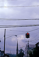 Traffic lights and dark stormy sky<br />