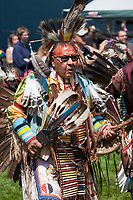 Native Americans dancing at Powwow, Northwest Folklife Festival 2016, Seattle Center, WA, USA.