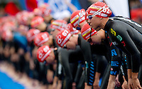 17 JUL 2011 - HAMBURG, GER - Andrea Hewitt (NZL) waits for the start of the women's Hamburg round of triathlon's ITU World Championship Series (PHOTO (C) NIGEL FARROW)