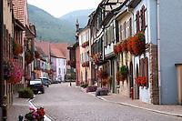 cobble stone street kientzheim alsace france