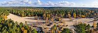 France, Seine et Marne, Noisy sur Ecole, Fontainebleau forest, Fontainebleau and Gatinais Biosphere Reserve by UNESCO, les Sables du Cul de Chien site in autumn (aerial view) // France, Seine-et-Marne (77), Noisy-sur-École, forêt de Fontainebleau désignée Réserve de Biosphère de Fontainebleau et du Gâtinais par l'UNESCO, les Sables du Cul-de-Chien en automne (vue aérienne)