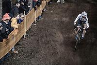 Later winner Sanne Cant (BEL/Beobank-Corendon) downhill.<br /> <br /> Women's Race<br /> UCI CX World Cup Zolder / Belgium 2017