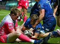 2nd October 2020; RDS Arena, Dublin, Leinster, Ireland; Guinness Pro 14 Rugby, Leinster versus Dragons; Jordan Larmour (Leinster) scores a try despite the tackle by Sam Davies (Dragons)