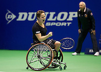 Rotterdam, Netherlands, December 20, 2015,  Topsport Centrum, Lotto NK Tennis, KNLTB, Wheelchait womans single final:  Aniek van Koot (NED) screams it out at matchpoint<br /> Photo: Tennisimages/Henk Koster