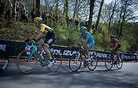 Timo Roosen (NLD/LottoNL-Jumbo), Laurens De Vreese (BEL/Astana) & Mike Terpstra (NLD/Roompot) in the breakaway up the Loorberg<br /> <br /> 50th Amstel Gold Race 2015