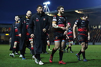 Gavin Henson of Dragons talks with Dorian Jones of Dragons after the final whistle of the European Challenge Cup match between Dragons and Bordeaux Begles at Rodney Parade, Newport, Wales, UK. 20 January 2018