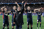 Atletico de Madrid's Gabi Fernandez, Lucas Hernandez, Antoine Griezmann, Saul Niguez and Juanfran Torres celebrate the victory in the Champions League 2015/2016 Quarter-Finals. April 13,2016. (ALTERPHOTOS/Acero)