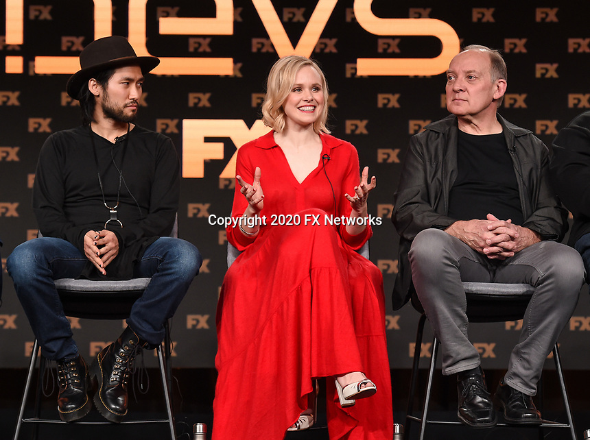 """PASADENA, CA - JANUARY 9: (L-R) Cast members Jin Ha, Alison Pill, and Zach Grenier attend the panel for """"Devs"""" during the FX Networks presentation at the 2020 TCA Winter Press Tour at the Langham Huntington on January 9, 2020 in Pasadena, California. (Photo by Frank Micelotta/FX Networks/PictureGroup)"""