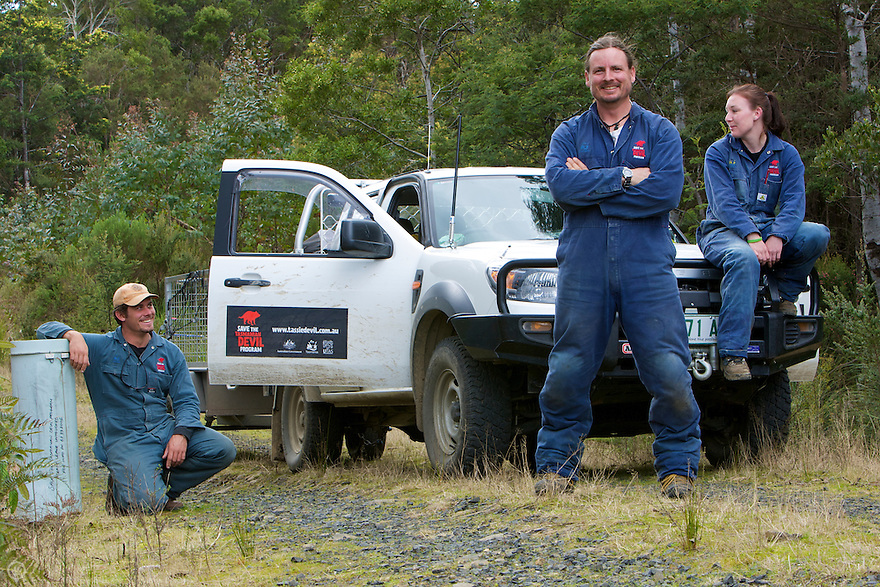 A team of Tasmanian devil researchers on a field outing in 2009.  Trap and release field outings help the researchers determine how quickly the disease is progressing in devil populations and identify barriers to disease propagation.<br /> <br /> Learn more: http://www.tassiedevil.com.au