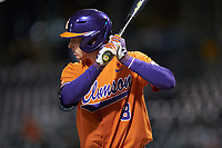 Logan Davidson (8) of the Clemson Tigers at bat against the Charlotte 49ers at BB&T BallPark on March 26, 2019 in Charlotte, North Carolina. The Tigers defeated the 49ers 8-5. (Brian Westerholt/Four Seam Images)