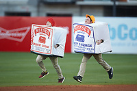 The Neese's Country Sausage race takes place between innings of the South Atlantic League game between the Hagerstown Suns and the Greensboro Grasshoppers at First National Bank Field on April 6, 2019 in Greensboro, North Carolina. The Suns defeated the Grasshoppers 6-5. (Brian Westerholt/Four Seam Images)