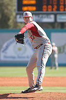 Pitcher Chad Martin #37 of the University of Indiana Hoosiers on the mound during a game against the Virginia Tech Hokies at Watson Stadium at Vrooman Field in Conway, South Carolina on February 18, 2011. Photo by Robert Gurganus/Four Seam Images