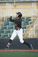 Craig Dedelow (14) of the Kannapolis Intimidators follows through on his swing against the Hagerstown Suns at Kannapolis Intimidators Stadium on May 4, 2018 in Kannapolis, North Carolina.  The Intimidators defeated the Suns 11-0.  (Brian Westerholt/Four Seam Images)