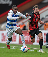 Queens Park Rangers' Bright Osayi-Samuel (left) vies for possession with Bournemouth's Adam Smith<br /> <br /> <br /> Photographer David Horton/CameraSport<br /> <br /> The EFL Sky Bet Championship - Bournemouth v Queens Park Rangers - Saturday 17th October 2020 - Vitality Stadium - Bournemouth<br /> <br /> World Copyright © 2020 CameraSport. All rights reserved. 43 Linden Ave. Countesthorpe. Leicester. England. LE8 5PG - Tel: +44 (0) 116 277 4147 - admin@camerasport.com - www.camerasport.com