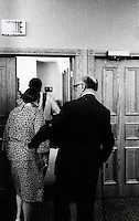 Montreal (QC) CANADA file photo -June 18 1986 -  Jean Drapeau (R) and his wife (L) leave thr room after his demission speech