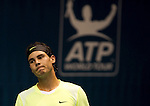 BANGKOK, THAILAND - OCTOBER 01:  Rafael Nadal of Spain reacts after losing a point against Mikhail Kukushkin of Kazakhstan during the Day 7 of the PTT Thailand Open at Impact Arena on October 1, 2010 in Bangkok, Thailand.  Photo by Victor Fraile / The Power of Sport Images