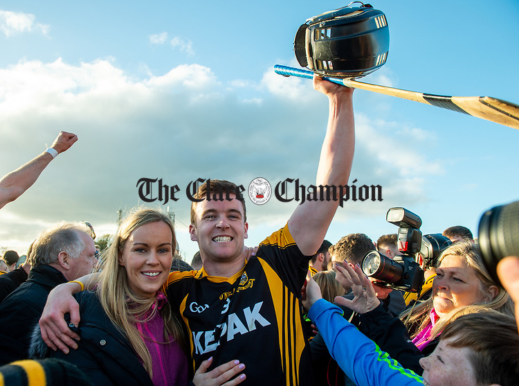 Ballyea's  Tony Kelly's celebrates with his newly married sister Lorraine following the county senior hurling final against Cratloe at Cusack Park. Photograph by John Kelly.