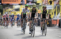 Adam Yates (GBR/Mitchelton-Scott) & teammate Michael Hepburn (AUS/Mitchelton-Scott) crossing the finish line in Brussels<br /> <br /> Stage 1: Brussels to Brussels (BEL/192km) 106th Tour de France 2019 (2.UWT)<br /> <br /> ©kramon
