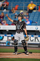 Charlotte Knights catcher Seby Zavala (5) during an International League game against the Syracuse Mets on June 11, 2019 at NBT Bank Stadium in Syracuse, New York.  Syracuse defeated Charlotte 15-8.  (Mike Janes/Four Seam Images)
