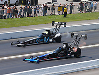 Jun 17, 2018; Bristol, TN, USA; NHRA top fuel driver Pat Dakin (near) alongside Scott Palmer during the Thunder Valley Nationals at Bristol Dragway. Mandatory Credit: Mark J. Rebilas-USA TODAY Sports