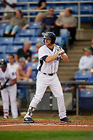 Binghamton Rumble Ponies designated hitter Kevin Taylor (12) at bat during a game against the Erie SeaWolves on May 14, 2018 at NYSEG Stadium in Binghamton, New York.  Binghamton defeated Erie 6-5.  (Mike Janes/Four Seam Images)