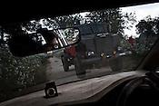 An anti mine vehicle drives past through the jungles in Chhattisgarh, India. Photo: Sanjit Das/Panos for The Times