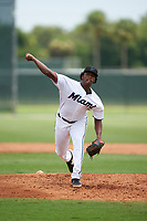 GCL Marlins pitcher Edgar Sanchez (31) during a Gulf Coast League game against the GCL Cardinals on August 12, 2019 at the Roger Dean Chevrolet Stadium Complex in Jupiter, Florida.  GCL Marlins defeated the GCL Cardinals 9-2.  (Mike Janes/Four Seam Images)
