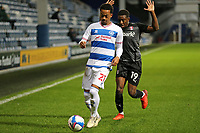Chris Willock of Queens Park Rangers under pressure from Wes Harding of Rotherham United during Queens Park Rangers vs Rotherham United, Sky Bet EFL Championship Football at The Kiyan Prince Foundation Stadium on 24th November 2020