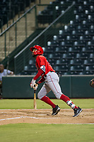 AZL Angels designated hitter Jordon Adell (25) hits a triple during a game against the AZL Indians on August 7, 2017 at Tempe Diablo Stadium in Tempe, Arizona. AZL Indians defeated the AZL Angels 5-3. (Zachary Lucy/Four Seam Images)